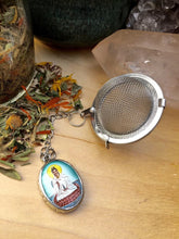 Load image into Gallery viewer, Tea Infuser with Kuan Yin Charm, Goddess of Compassion Tea Ball, Quan Yin Tea Steeper, Morning Ritual Intentional Tea Drinking Gift