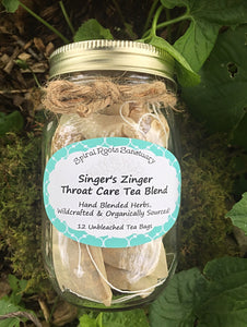 Singer's Zinger ~ Throat and Digestion Care Singers Tea Bags with Organic Herbs of Ginger, Lemon Peel, Marshmallow Root and Mullein, Music Teacher Gift