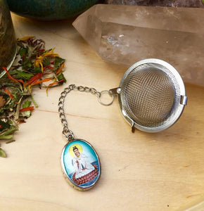 Tea Infuser with Kuan Yin Charm, Goddess of Compassion Tea Ball, Quan Yin Tea Steeper, Morning Ritual Intentional Tea Drinking Gift