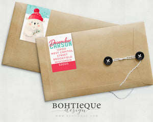 December Bear Return Address Labels