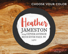 Load image into Gallery viewer, Heather Circle Initial Return Address Stickers