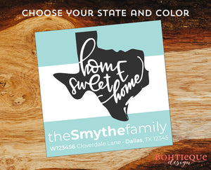 Home Sweet Home State Return Address Labels