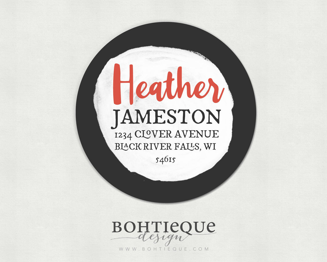 Heather Circle Initial Return Address Stickers