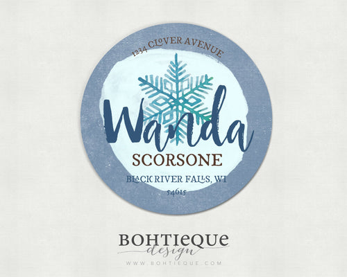 Winter Holiday Address Labels with Color Options: Wanda Snowflake Personalized