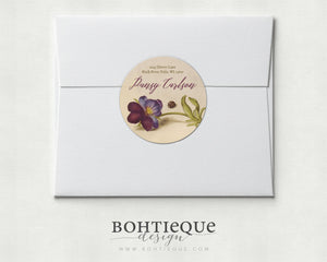 Calligraphy on Pansy and Ladybug Vintage Illustration Return Address Label