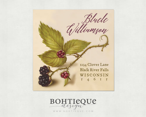 Calligraphy on Berries Vintage Illustration Return Address Label