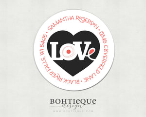 Love Me Heart Return Address Stickers
