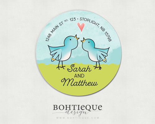 A Couple of Lovebirds Return Address Labels