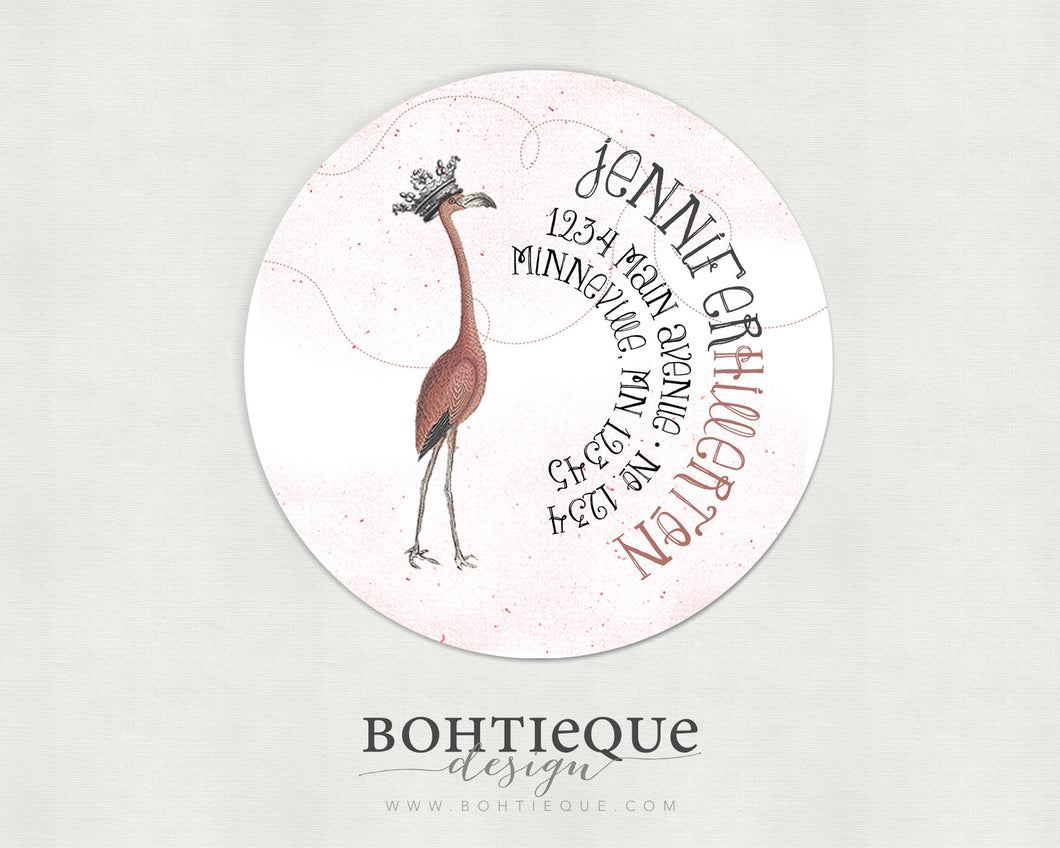 Fancy Flamingo Return Address Labels