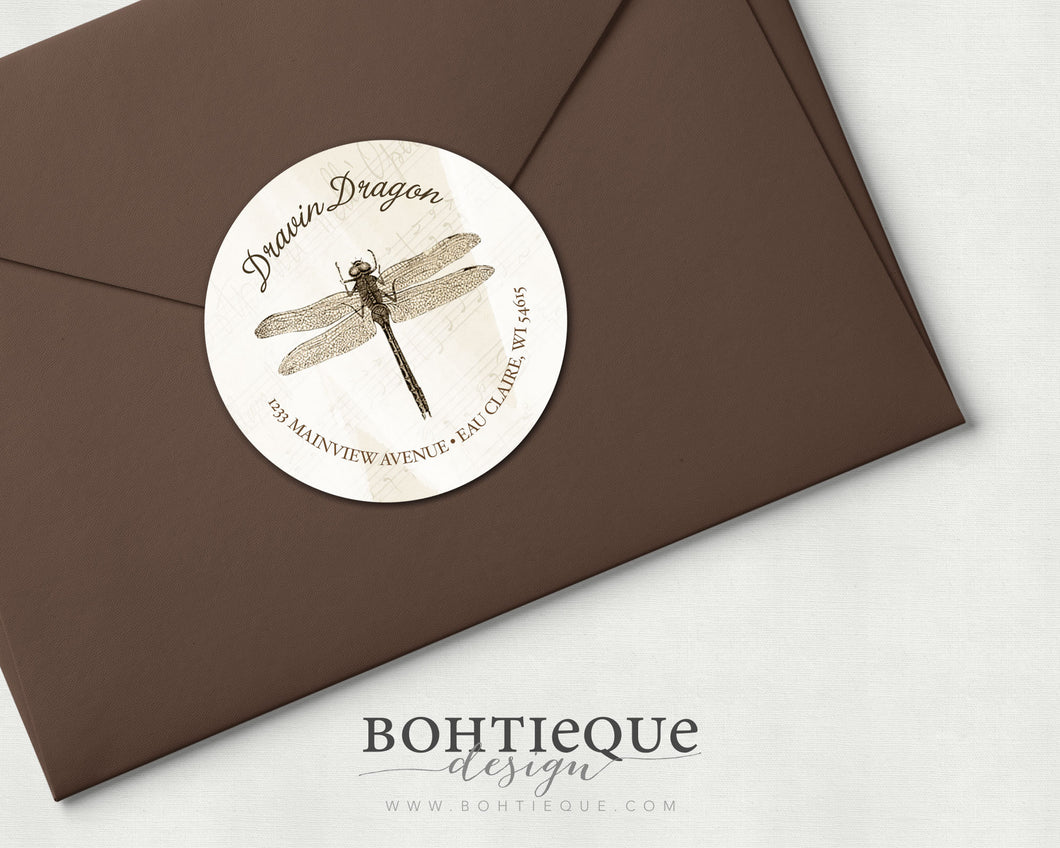Vintage Dragonfly Return Address Labels