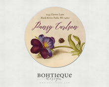 Load image into Gallery viewer, Calligraphy on Pansy and Ladybug Vintage Illustration Return Address Label