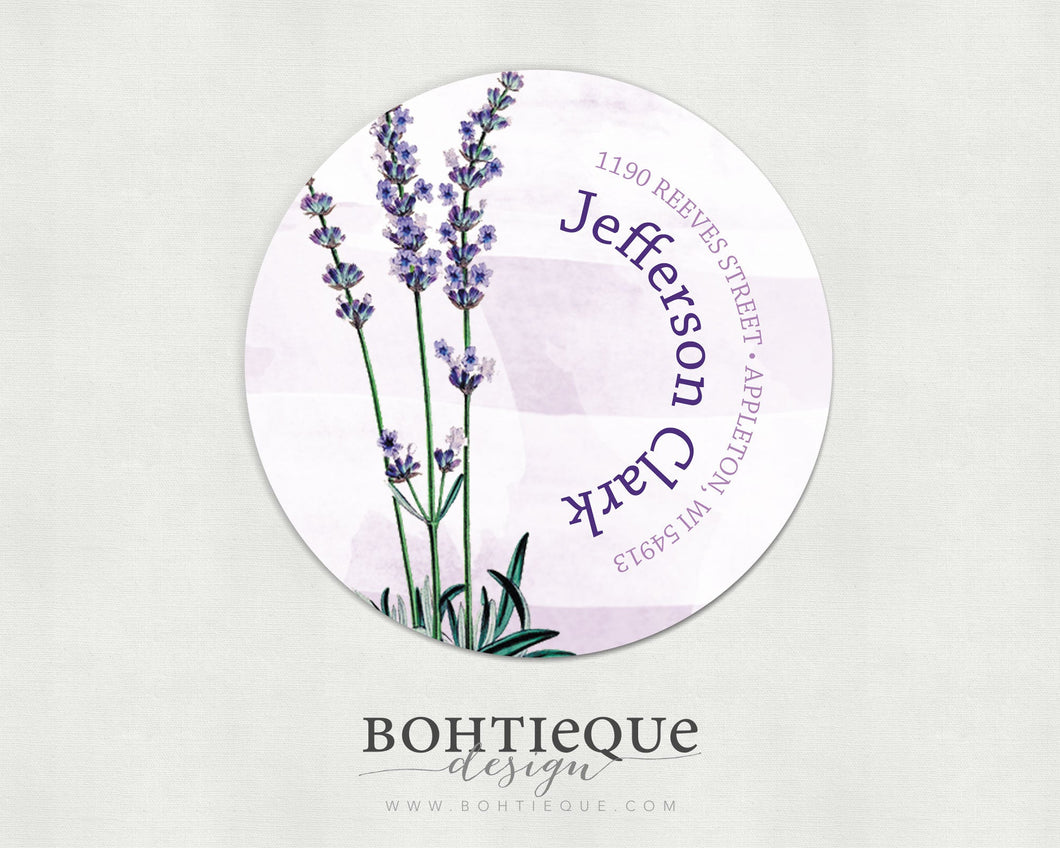 Lavender Fields Return Address Label Sticker