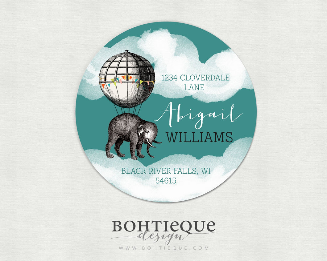 Elephant Aloft Return Address Stickers