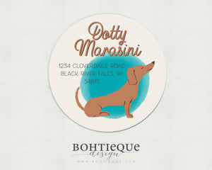 Dotty the Dachshund Dog Return Address Stickers