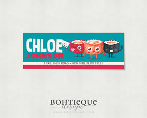 Chloe Sushi Rectangle Return Address Stickers