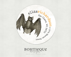Circle Batty Bat Return Address Labels