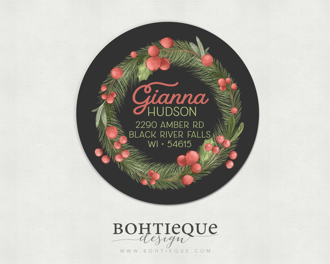 Gianna Holly and Pine Return Address Labels