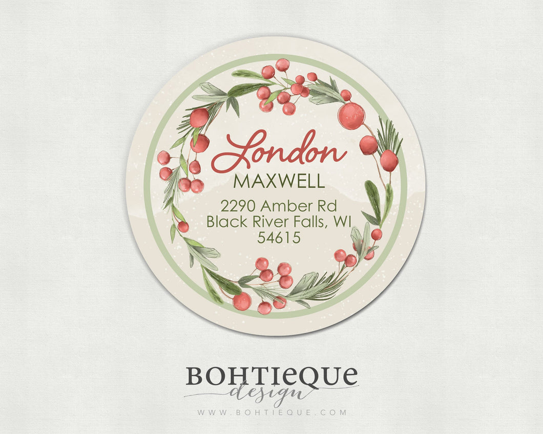 London Holly and Pine Return Circle Address Labels