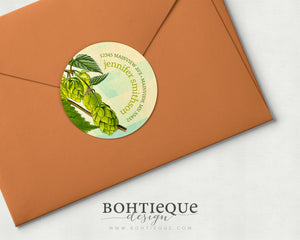 Brewers Hops Botanical Return Address Stickers
