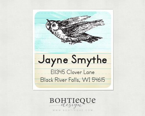 Book Owl Return Address Labels For Book Lover, Librarian