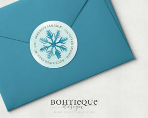 Watercolor Snowflake Return Address Stickers