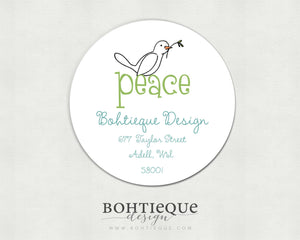 Peace Dove Envelope Label for Housewarming or Families