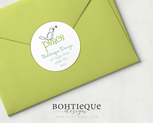Peace Dove Personalized Envelope Label