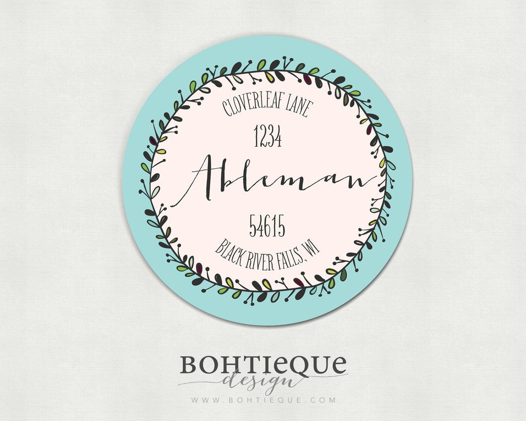 Leafy Wreath Floral Address Label for Families and Friends - Ableman