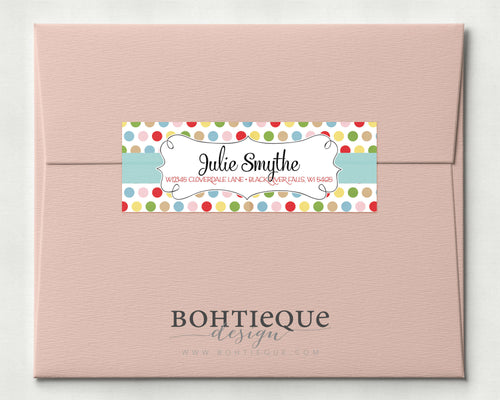Dots and Curls Calligraphy Return Address Label