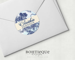 Botanical in Blue Return Address Stickers
