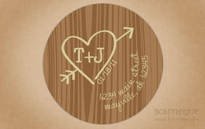 Carve Our Initials Tree Engagement Return Address Stickers