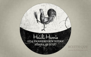 Vintage Rooster Return Address Label