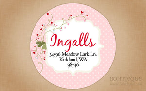 Valentine Hearts Circle Address Labels
