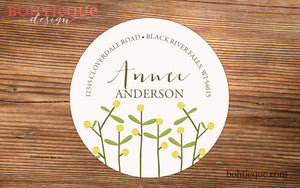 Anne Flowers Return Address Stickers