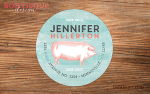 Vintage  Pig Return Address Label
