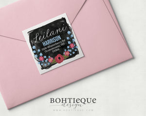 Leilani Floral Return Address Label