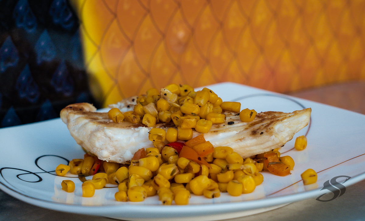 Grouper With Roasted Corn and Peppers
