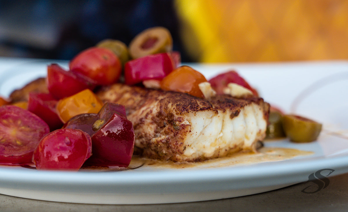 Mediterranean Style Baked Grouper With Tomatoes and Olives