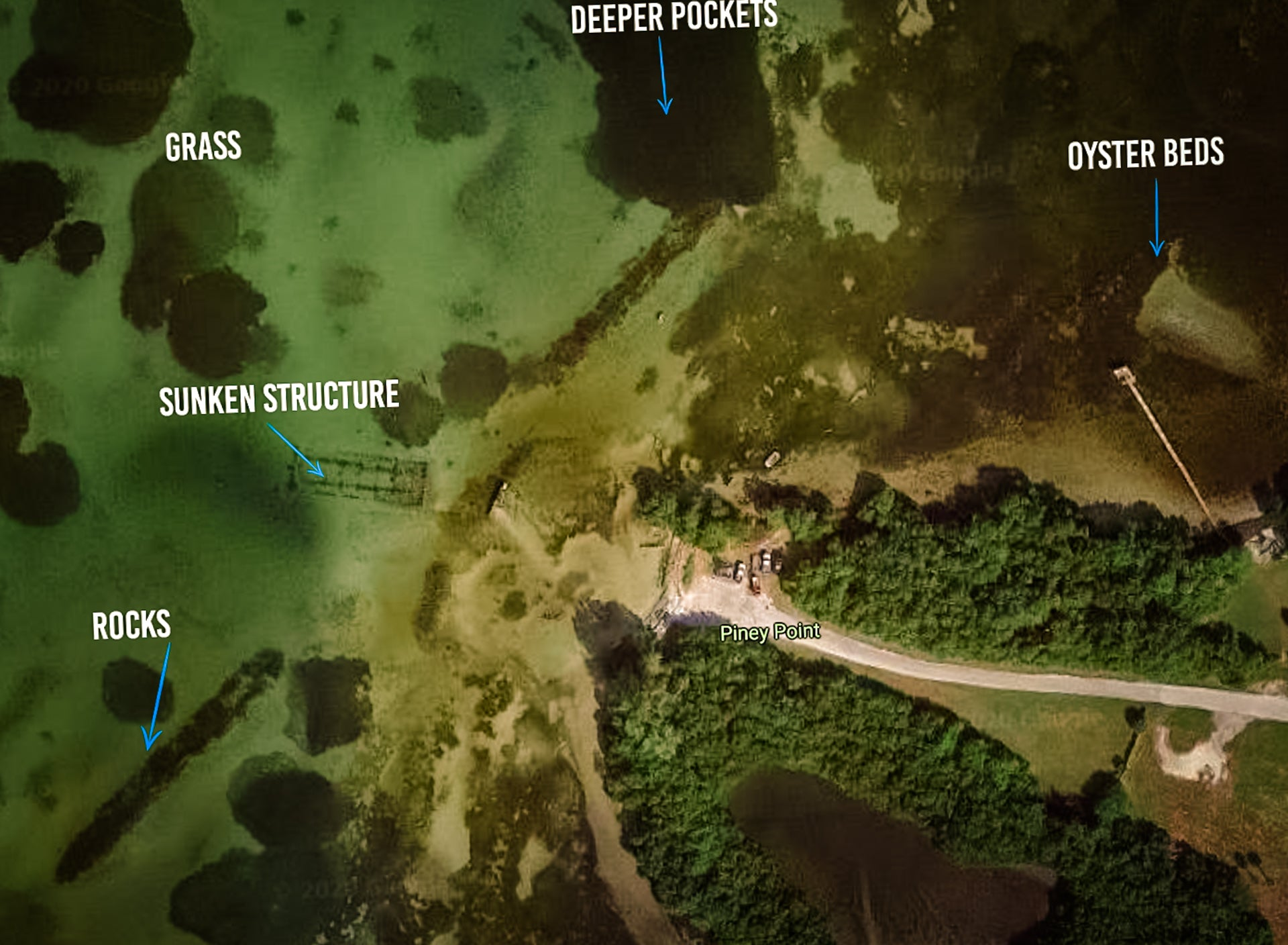 Piney Point Fishing Map