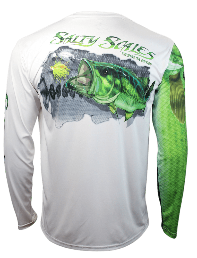 Largemouth bass long sleeve scale sun shield salty for Bass fishing shirt