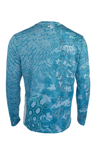 Green Cycloid Camo Fishing Shirt With Mesh Sides