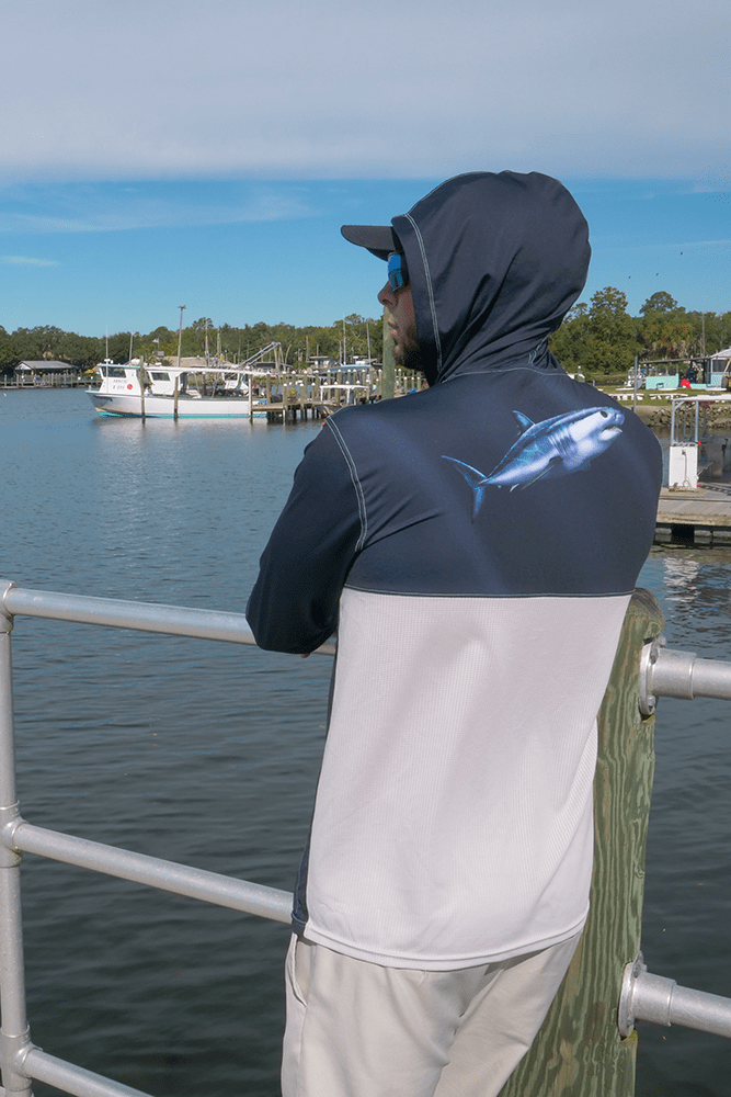 Mako Shark Performance Fishing Hoodie for Men, Dri-Fit Clothing