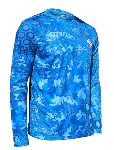Image of Mens Blue Cycloid Camo Fishing Sun Shirt