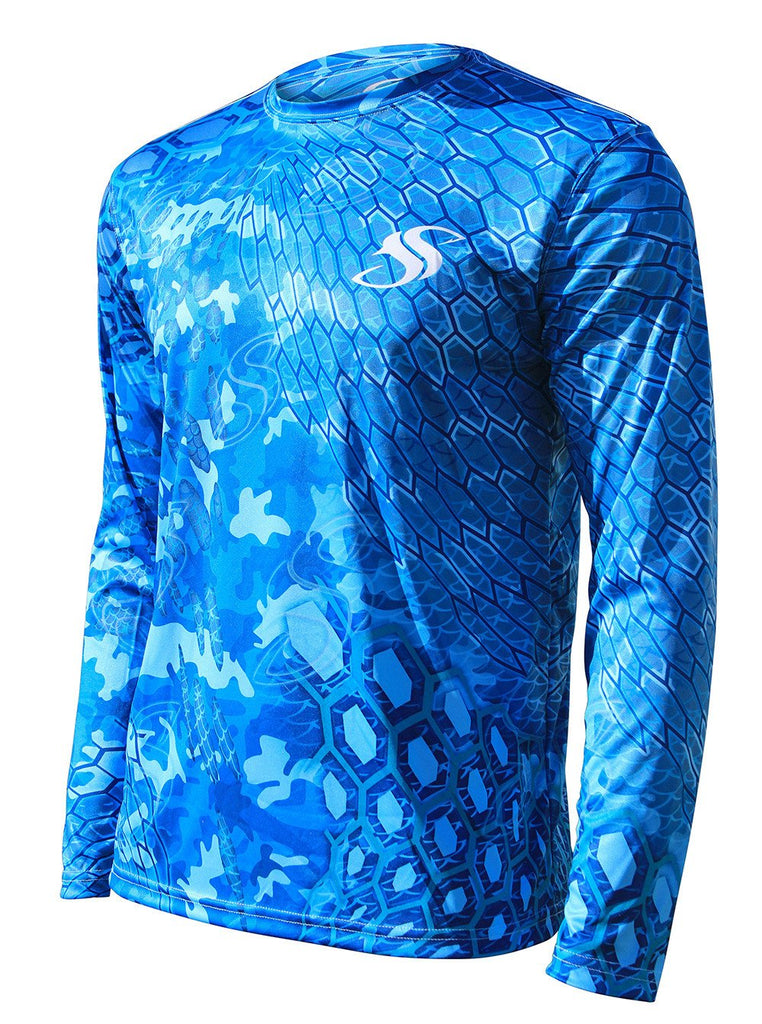 Mens Blue Cycloid Camo Fishing Sun Shirt