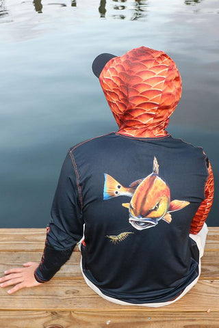 Salty Scales Redfish Gen 3 Hoodie for Men, UPF Performance Clothing