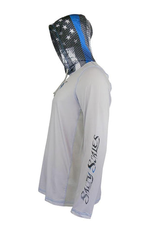 Image of Blue Line Leo/Snook Hoodie for Men, UPF Clothing