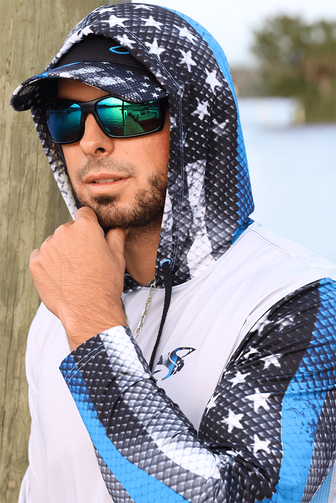 Blue Line Leo/Snook Hoodie for Men, UPF Performance Clothing