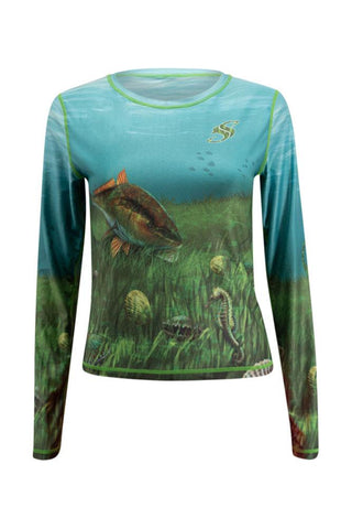 Image of Womens Scallop Long Sleeve