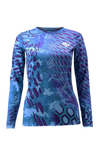 Womens Camo Purple Fishing Sun Shirt