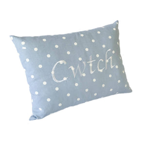 Cwtch Cushion Powder Blue left view